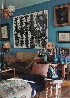 Bohemian Homes: Blue walls