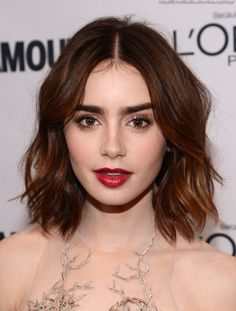 color short hair, hair colors, wavy hair, lily collins, red lips, brow, lili collin, long bobs, short bobs