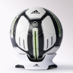 adidas miCoach smart ball. Sensor detects speed, spin, strike and flight path data. App interprets and displays near real-time feedback.