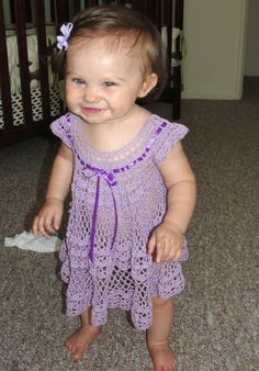 baby girl summer dress - free crochet pattern at: http://inkarapoozville.blogspot.ca/2012/07/crochet-summer-baby-dress.html it can be adjusted to any size!! <3