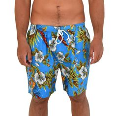 Wicked Blue Magnum Hawaiian Print Mens Shorts - 100% Cotton. Light-weight. Casual - beach to bar ready! #mensshorts #festivalshorts #beachshorts #mensblackshort #meanshawaiianshort #blackshort #partyshorts #springbreak #summer #swim #cottonshorts #hawaiianshirts #tropicalshorts #festivalwear #festivalclothing #partyshorts #beachpartyshorts #uni #vacay #mensfashion #floralshorts #magnumshorts