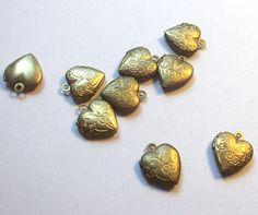 Vintage Tiny Brass Heart Locket Charm 10 mm by KeyLimeSupplies, $1.50
