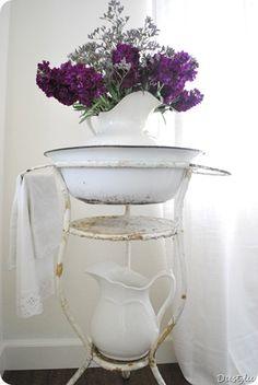 at home, antiqu enamelwar, antigua, front entrances, shabbi chic, wash tubs, chic white, wonder enamelwar, flower