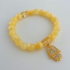 Hamsa Hand Bracelet with Calcite and Citrine Beads by ChloeAlyson