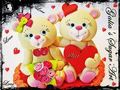 Valentine's Day Bears bear, cake idea, cake design, cake decor, cake art, cake topper, pink cake, anniversari cake