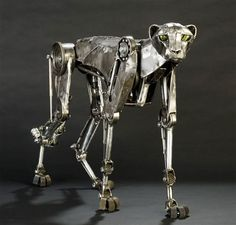 cheetahs, steampunk mechan, steampunk sculptur, metal sculptur, andrew chase, steam punk, robot, car parts, animal sculptures