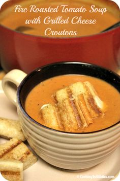 Fire Roasted Tomato Soup With Grilled Cheese Croutons - a classic combination! http://cookinginstilettos.com/fire-roasted-tomato-soup-with-grilled-cheese-croutons-for-fbs4sandy/ #Tomato #ComfortFood #Soup #Cheese