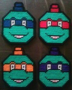 Teenage Mutant Ninja Turtle Plastic Canvas Ornament Set Pattern 3.00