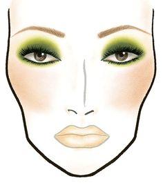 MAC makeup face chart. Greens