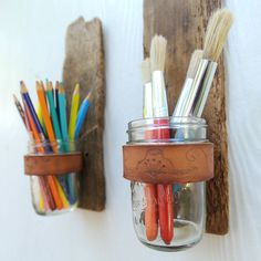 jar sconc, chalkboard walls, gift ideas, wall decorations, paint brushes, mason jars, art supplies, craft rooms, art rooms
