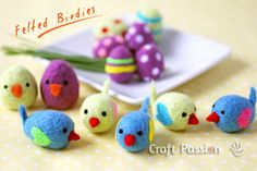 How cute!   How to make felted  little birdies.