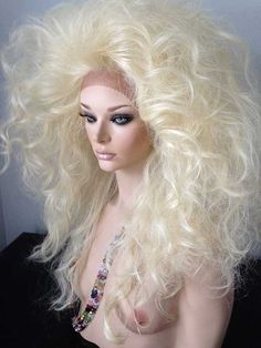 Oversized Drag Queen Wig, New Lace Front, Bleached Light Blonde, Teased Out Curls