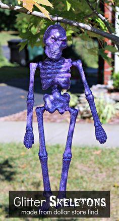 Glitter Skeletons made from Dollar Store