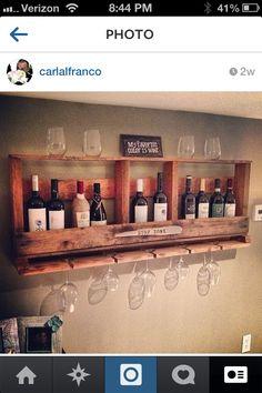 Handmade wall mount wine rack... Amazing!