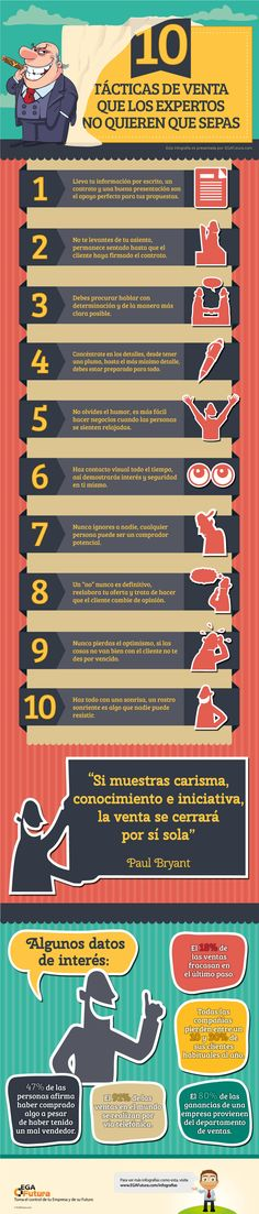 10 tácticas de venta que los expertos no quieres que conozcas #infografia #infographic #marketing