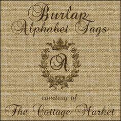 Burlap Alphabet Tags Free A complete Set