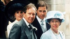 Regal Majesty:  Viscountess and Viscount Linley, Earl of Snowdon and Princess Margaret at the wedding of Lady Sarah Armstrong-Jones, 1994