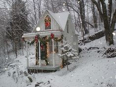 christmas shabby chic house