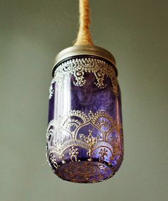 omg gorgeous hand made mason jar light. the purple and silver?