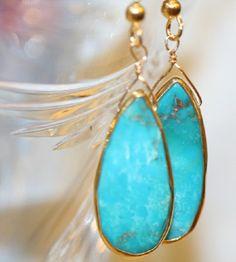 TURQUOISE GOLD EARRINGS, gold bezel set dangle earrings, gold filled french hooks, turquoise earrings