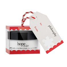 hope in a jar ornament features Philosophy's original formula moisturizer for all skin types in trial-size 0.5 oz., for a inspiring yet festive way to share the gift of great skin this holiday. Their world-renown, award-winning moisturizer is loaded with antioxidants in a unique souffle texture. An ornament that goes beyond your Christmas tree! #Gifts #Beauty #Christmas #Holiday