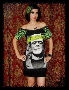 Frankenstein shirt horror dress Classic Horror by kittyvampdesigns