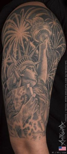 Anil Gupta created this impressive Statue of Liberty tattoo. #InkedMagazine #StatueOfLiberty #blackandgrey #tattoo #tattoos #Inked #Ink #America #UnitedStates