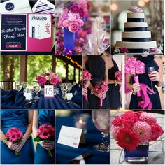 navy blue and fuchsia pink wedding color ideas
