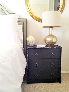 """This stylish, nail head trimmed piece made from an inexpensive Ikea dresser....chic DIY """"on the cheap"""""""