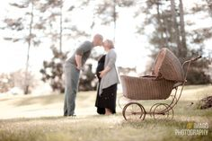 Maternity Photo with vintage baby carriage