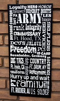 Army/Military Subway art sign Typography....Custom...Personalized.