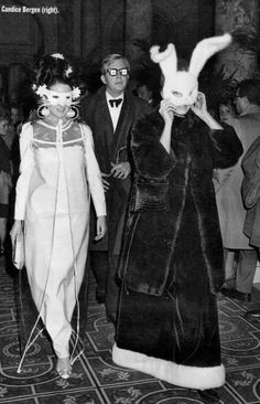 Candice Bergen (in bunny mask) at the Black & White Ball 1966