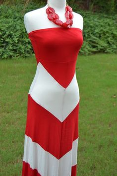 Red UGA Chevron maxi dress at Girl Meets Gameday. I have one similar, but black/white sleeveless instead of strapless