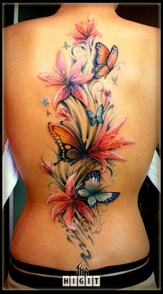 cover up, tattoo ideas, butterfli, color, back tattoos, a tattoo, flower tattoos, butterfly tattoos, ink