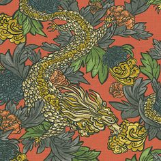 Red Chinoiserie Dragon Fabric | Ming Dragon : Persimmon | Loom Decor