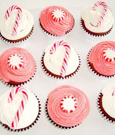 candy cane & peppermint cupcakes