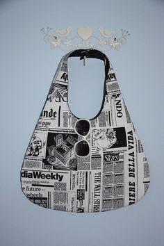 newspaper prints extra large hobo bag/newspaper by leyyabags, $40.00