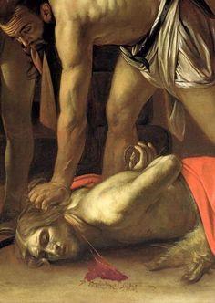 The Decapitation of St. John the Baptist, 1608 (detail) by Michelangelo Merisi da Caravaggio