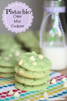 Pistachio Cake Mix Cookies Recipes for St. Patrick's Day...this recipe is so versatile, I can see lots of flavors working well too.