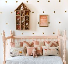 blush, whimsical and modern child room, little girls, polka dots, little houses, kid decor, bed, kid rooms, stylish kids, girl rooms