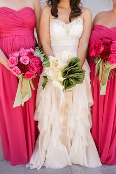color coordinated bouquets, photo by Greer Gattuso Photography http://ruffledblog.com/notwedding-new-orleans #bridesmaids #pink #bouquet