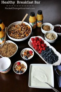 Mix things up with a breakfast bar - yogurt, fruit, granola, juice. It's a great way to start the day with quick and affordable ingredients available at Walmart.