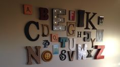 Alphabet wall--letters mainly from Hobby Lobby