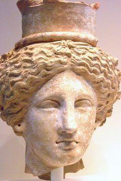 Head of Demeter or Kore Greek made in Sicily 350-300 BCE Terracotta |