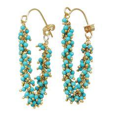 turquois earring, fring hoop