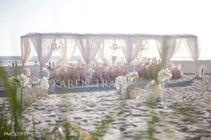 Beautiful white wedding at the beach - ready for summer weddings?~Karen Tran Florals