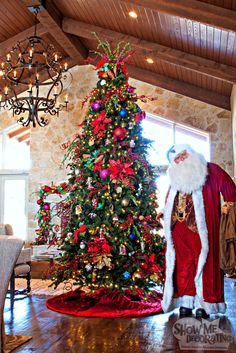 #Multicolored Christmas Tree with #Radko ornaments #Show Me Decorating #christmastree, #christmasdecor, #colorfulchristmas #traditionalchristmas, #Santa