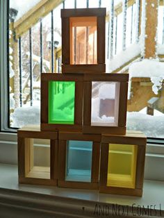DIY Color blocks for exploring natural light made from a dollar store wooden block game from And Next Comes L