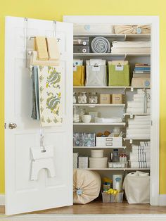 Order in the Closet. Put every inch of a linen closet to work. Make room for extra towels, toilet rolls, cleaning supplies, and sheets on shelves that go all the way to the ceiling. Label containers so you know where everything belongs. Hang a towel bar over the door for additional storage. Organization. Closet. Storage.