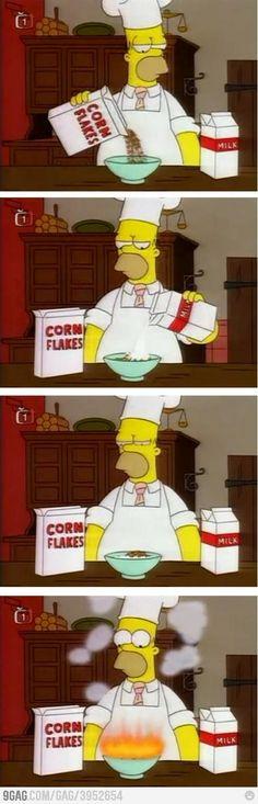 Homer makes breakfast for Mr. Burns.